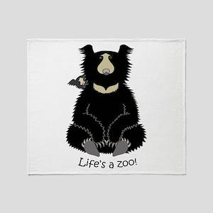 Sloth Bear with Cub Throw Blanket