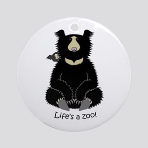 Sloth Bear with Cub Ornament (Round)