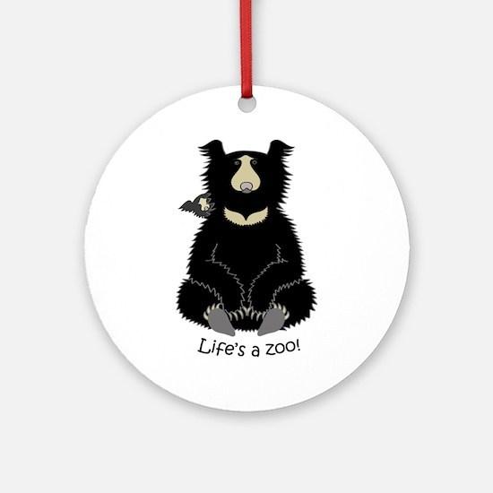 Sloth Bear with Cub Ornament (Round)