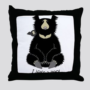 Sloth Bear with Cub Throw Pillow
