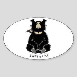 Sloth Bear with Cub Sticker (Oval)