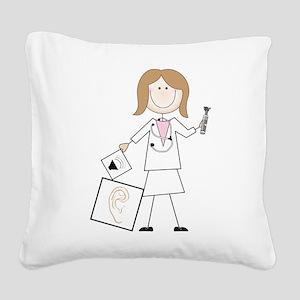 Female Audiologist Square Canvas Pillow