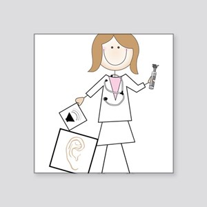 "Female Audiologist Square Sticker 3"" x 3"""