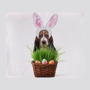 Easter Basset Hound Throw Blanket