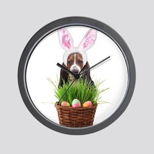 Easter Basset Hound Wall Clock