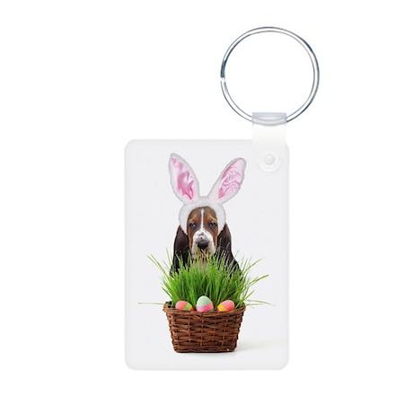 Easter Basset Hound Aluminum Photo Keychain