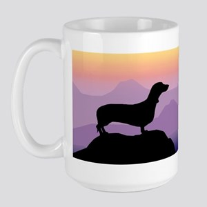 dachshund dog purple mt. Large Mug