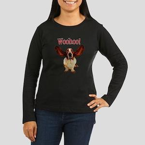 Basset Hound WooHoo! Long Sleeve Dark T-Shirt