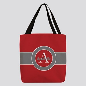 Red Gray Monogram Personalized Polyester Tote Bag