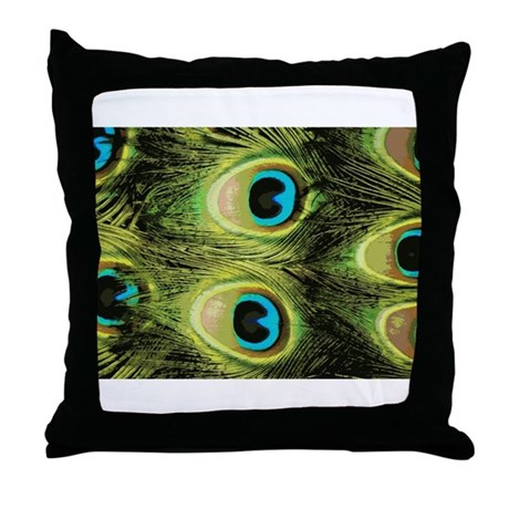 Peacock Feathers Macro Throw Pillow