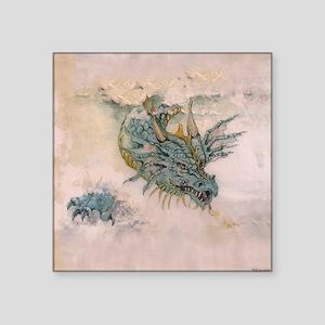 """Blue Dragon In The Mist Square Sticker 3"""" x 3"""""""