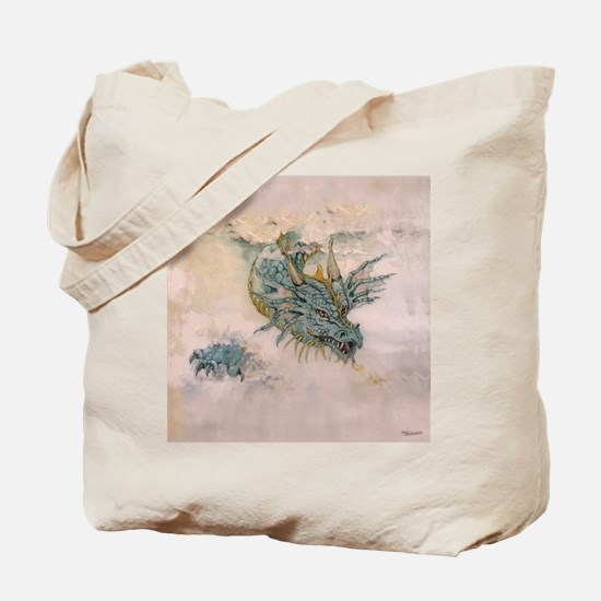 Blue Dragon In The Mist Tote Bag