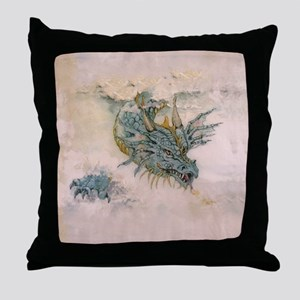 Blue Dragon In The Mist Throw Pillow