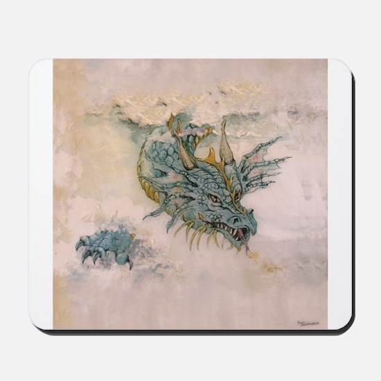 Blue Dragon In The Mist Mousepad