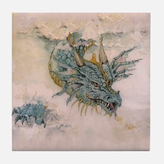 Blue Dragon In The Mist Tile Coaster