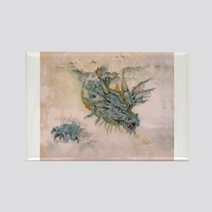 Blue Dragon In The Mist Rectangle Magnet