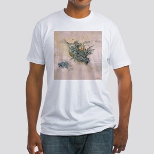 Blue Dragon In The Mist Fitted T-Shirt