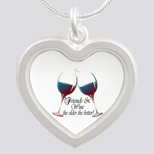 Friends and Wine the older the better Silver Heart