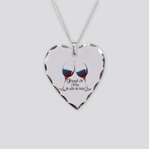 Friends and Wine the older the better Necklace Hea