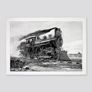Steam Locomotive 5'x7'Area Rug
