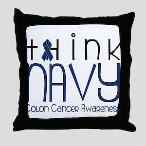 Think Navy Throw Pillow