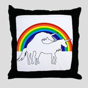 Humping Unicorns Throw Pillow