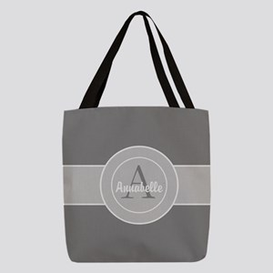 Gray Monogram Personalized Polyester Tote Bag