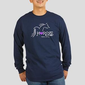 Horses brighten any day - Long Sleeve Dark T-Shirt