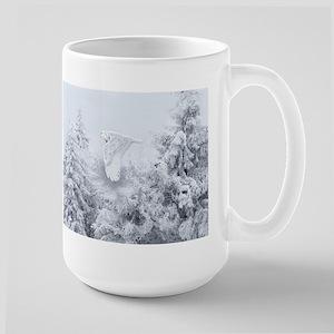 Snowy Owl in Blizzard Large Mug