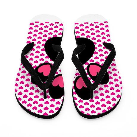 Pink Heart Paw Print Flip Flops