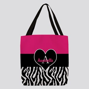 Pink Zebra Heart Monogram Personalized Polyester T