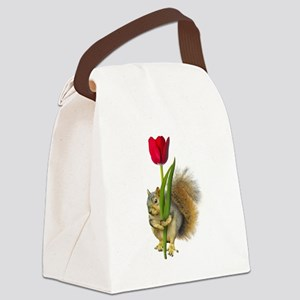 Squirrel Red Tulip Canvas Lunch Bag