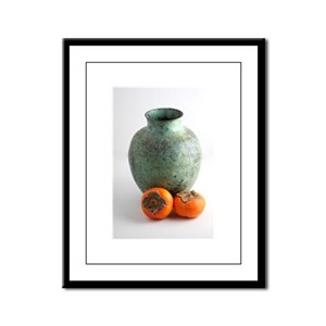 Persimmon with vase Framed Panel Print