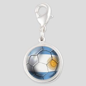 Argentina Football Silver Round Charm