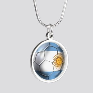 Argentina Football Silver Round Necklace