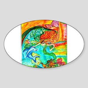 Mermaid Bliss Oval Sticker