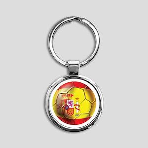 Spanish Futbol Round Keychain