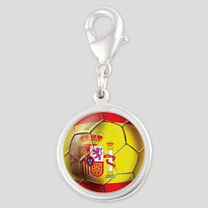 Spanish Futbol Silver Round Charm