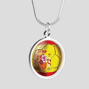 Spanish Futbol Silver Round Necklace
