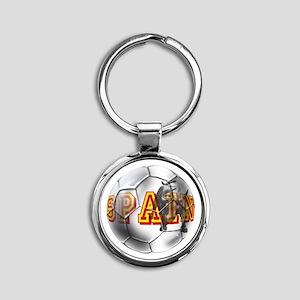 Spanish Soccer Ball Round Keychain