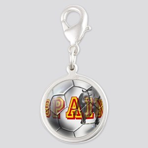 Spanish Soccer Ball Silver Round Charm