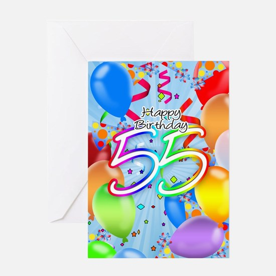55th Birthday Greeting Card With Balloons