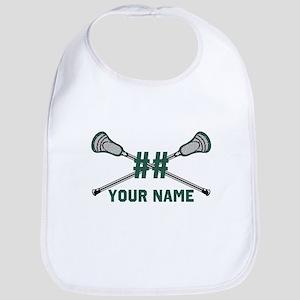 Personalized Crossed Lacrosse Sticks Green Bib