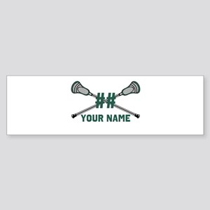 Personalized Crossed Lacrosse Sticks Green Sticker