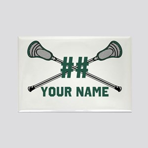 Personalized Crossed Lacrosse Sticks Green Rectang