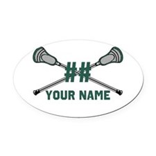 Personalized Crossed Lacrosse Sticks Green Oval Ca