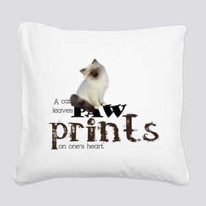 Brown / White Birman Cat Square Canvas Pillow