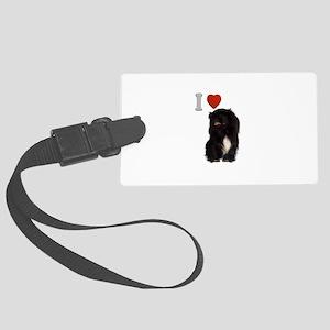 Black Pekingese Large Luggage Tag