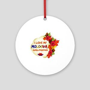 Moldova Girlfriend Valentine design Ornament (Roun