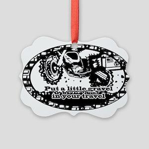 Adventure Bike Oval Picture Ornament